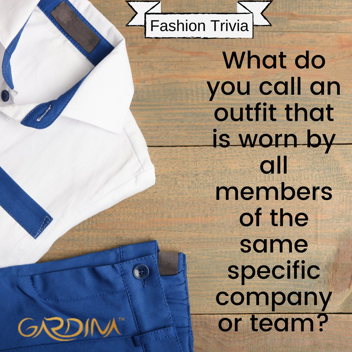 """What do you call an outfit that is worn by all members of the same specific company or team?"" Post your answer in the comment section.  #fashiontrivia #fashionlover #fashionstyle #luxury #fashionista #fashiondaily #fashion #gardina #luxuryfashion #feelgoodfashion #instafashion https://t.co/DZE6Mjz6Sa"
