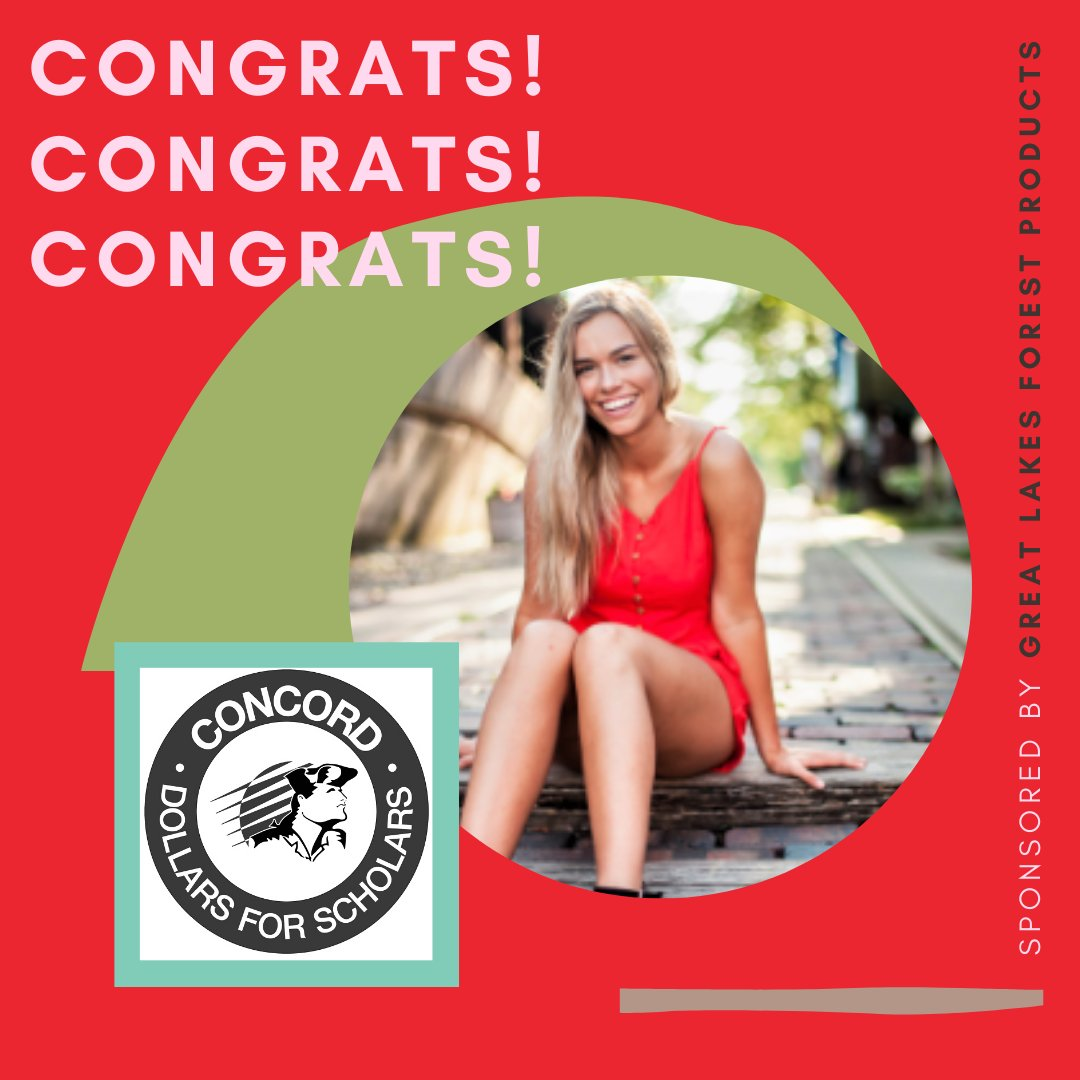 GLFP is proud to be a sponsor of Concord High School Dollars for Scholars program. Elyse M. will be attending Purdue University West Lafayette. Congrats Elyse! #concorddollarsforscholars #forestproducts #purdue https://t.co/3XSOV3l1Qe