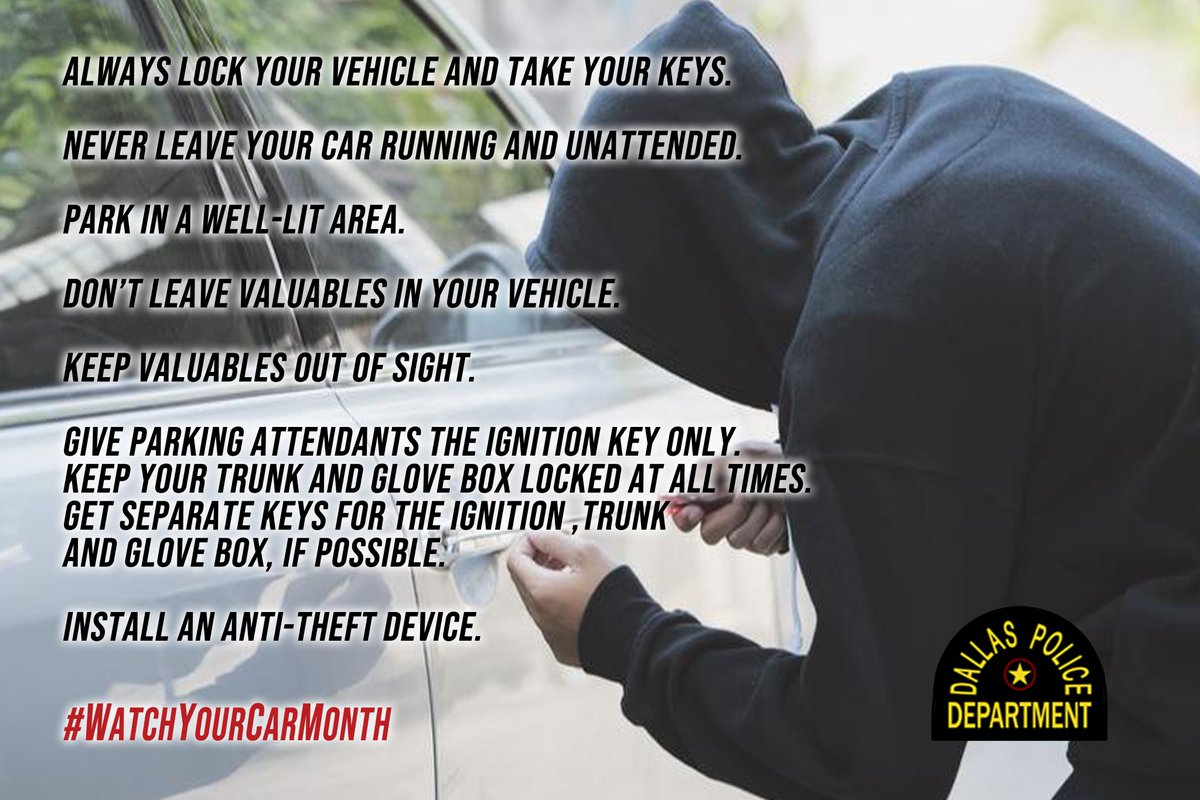 July is #WatchYourCar month. @ChiefHallDPD