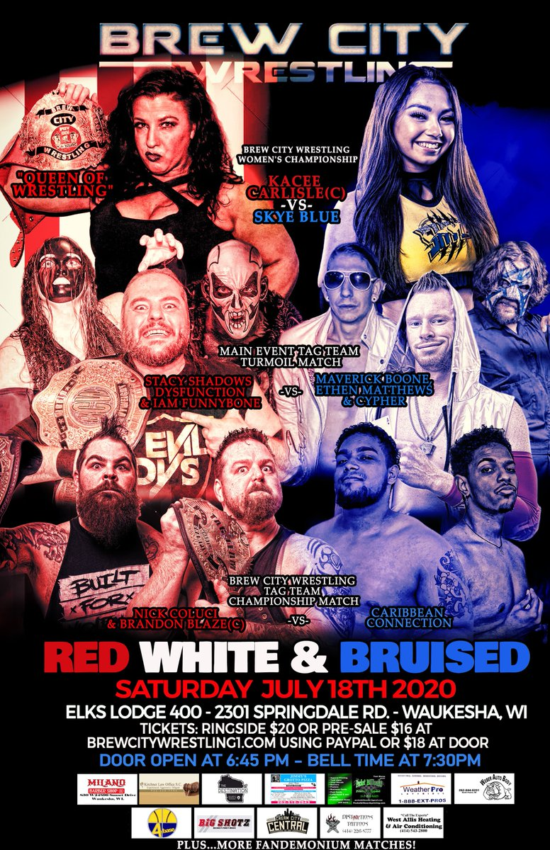 """The Stars of Brew City Wrestling return on Saturday, July 18 as we get patriotic for """"Red, White & Bruised"""" @WaukeshaElks in Waukesha, WI. Bell time is 7:30pm. #FANDEMONIUM #Wisconsin #wrestling #familyfun https://t.co/WJY1lLDQZP"""