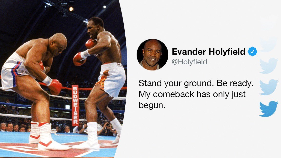 The @Holyfield comeback is still on track. https://t.co/JBcpzWfo3N