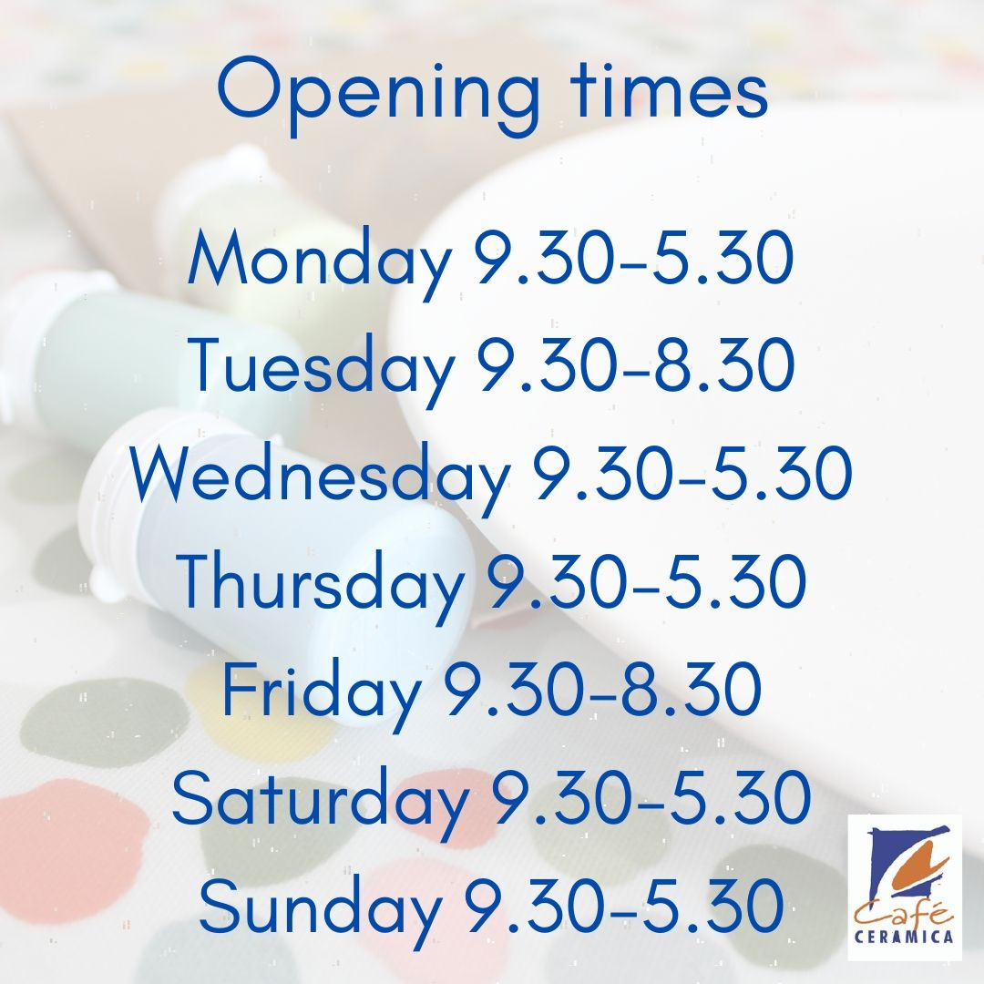 We are open 7 days a week! Tomorrow night is our first adult only painting evening, book a relaxing painting session and get creative!🎨 . Call us on 01213083984 or email cafeceramicashop@gmail.com to book! https://t.co/XpEXiWLJt8