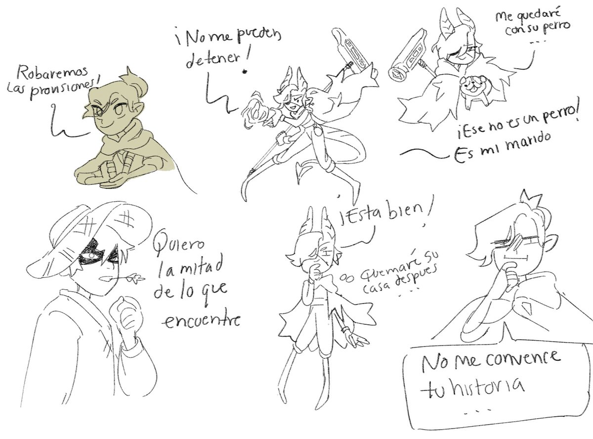 A bunch of #dnd doodles 👀  @D_NGTime @Valmey_me @Kai_A_S_G   Spanish coz 2 lazy to translate 😌 https://t.co/MlKmFdmEEF
