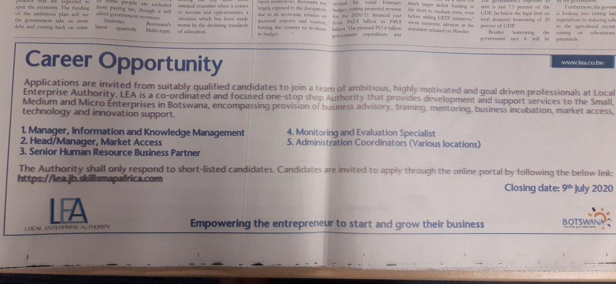 LEA is hiring #EmploymentAlertBw https://t.co/rizteQJ1sd
