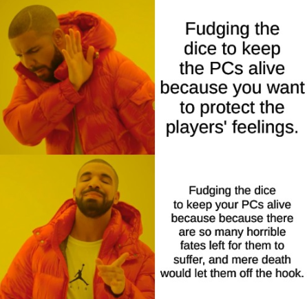Why yes, I did fudge to keep your character alive... but don't thank me JUST yet. #ttrpg #dnd #rpg https://t.co/ocTasKjAUl