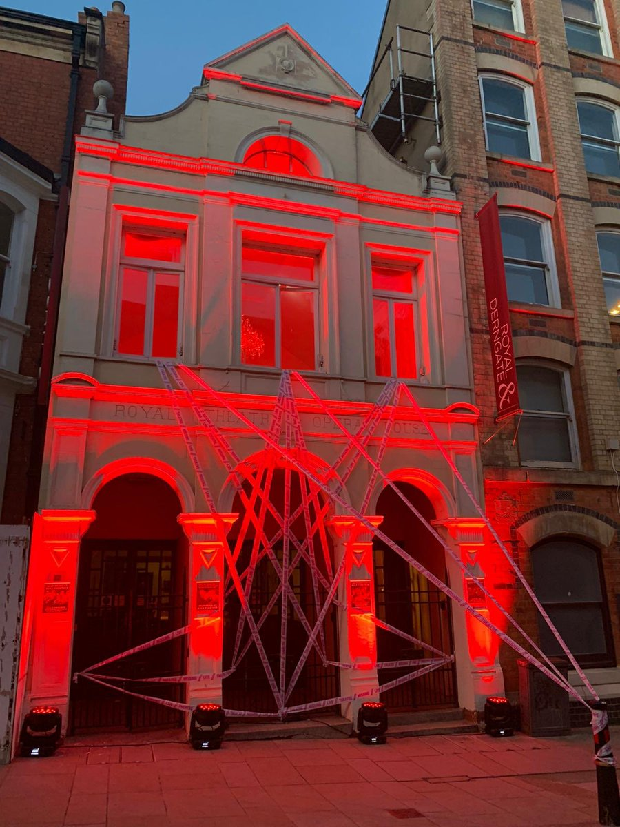 #LightItInRed #solidarity #Northampton our local buildings are beginning to glow @RoyalDerngate @Robelighting #missingtheatre #SaveTheArts for all those who work in the creative industries and its fabulous buildings 🎭 https://t.co/acNWSQCHSM