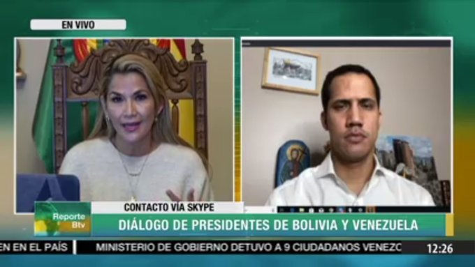 """South America's unelected, self-declared """"presidents"""" had a Skype meeting today. When democracy returns to Bolivia, she'll be as much of a laughing stock as he currently is. <br>http://pic.twitter.com/Id1Of5JL7o"""