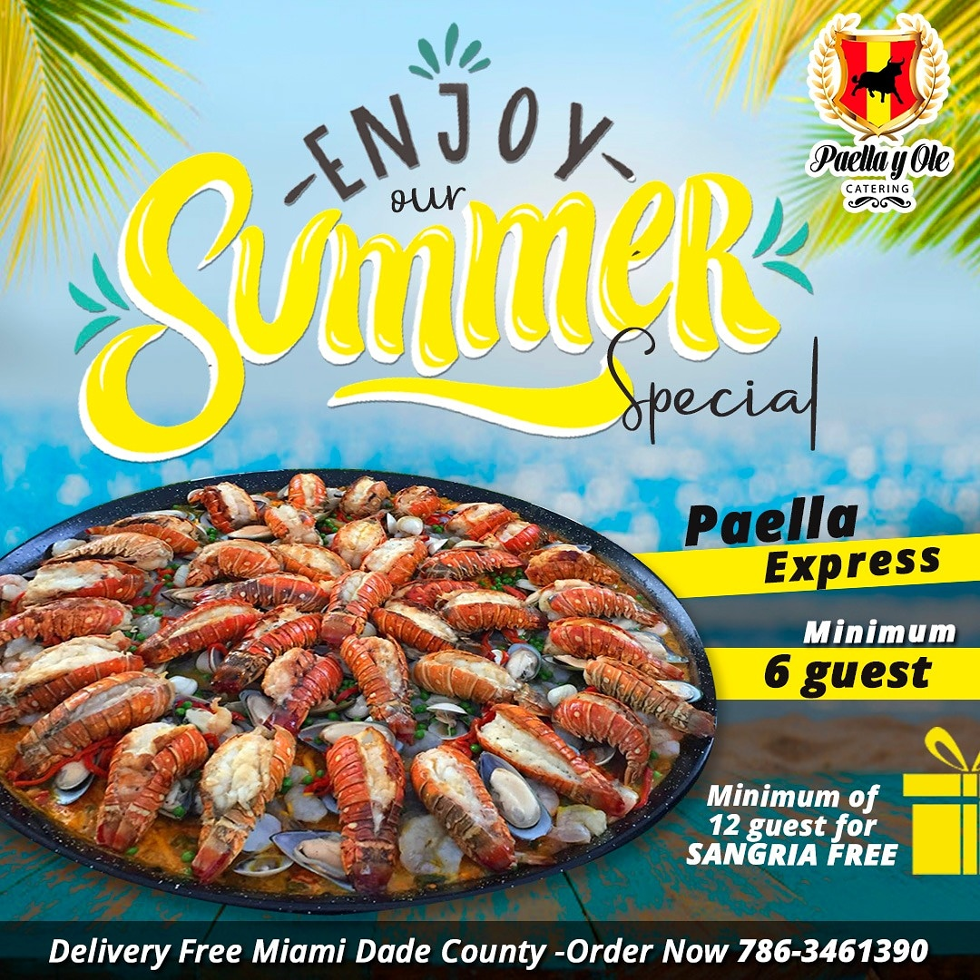 🏵️☀️🍍Enjoy #summer in family with the #bestfood, 👨🏼‍🍳🥘our delicious #paellaexpress🏵️☀️🍍 🥘Paella express minimum order 6 guest- #deliveryfree  🥘🍷Paella express minimum order 12 guest+ #sangria and delivery free Contact us for details: 📲7863461390⁣ #SummerVibes #summerfood https://t.co/HVo9xopg4P