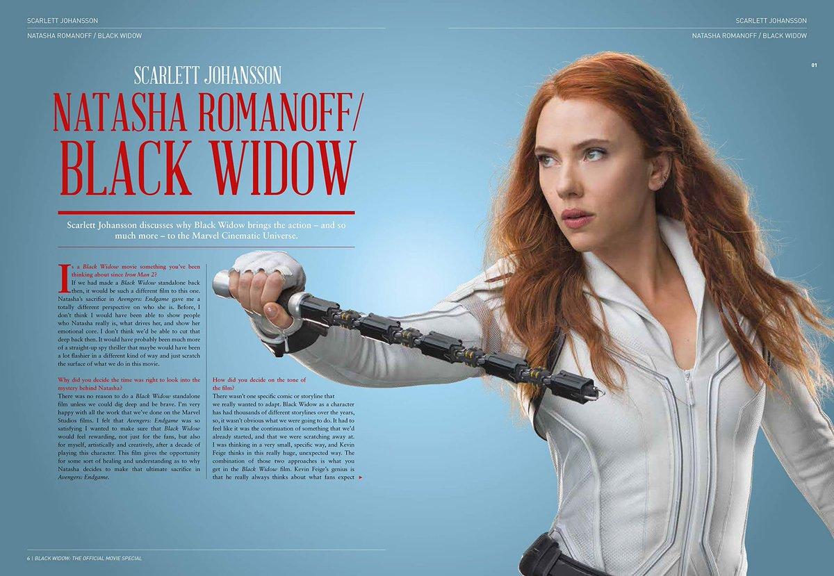 Imágenes del Libro Especial de Black Widow que contendrá entrevistas con Scarlett Johannson, Florence Pugh, David Harbour y Rachel Weisz, además de fotografías exclusivas.   Saldrá a la venta el 6 de Octubre de este mismo año. https://t.co/wgZ07jgfwx