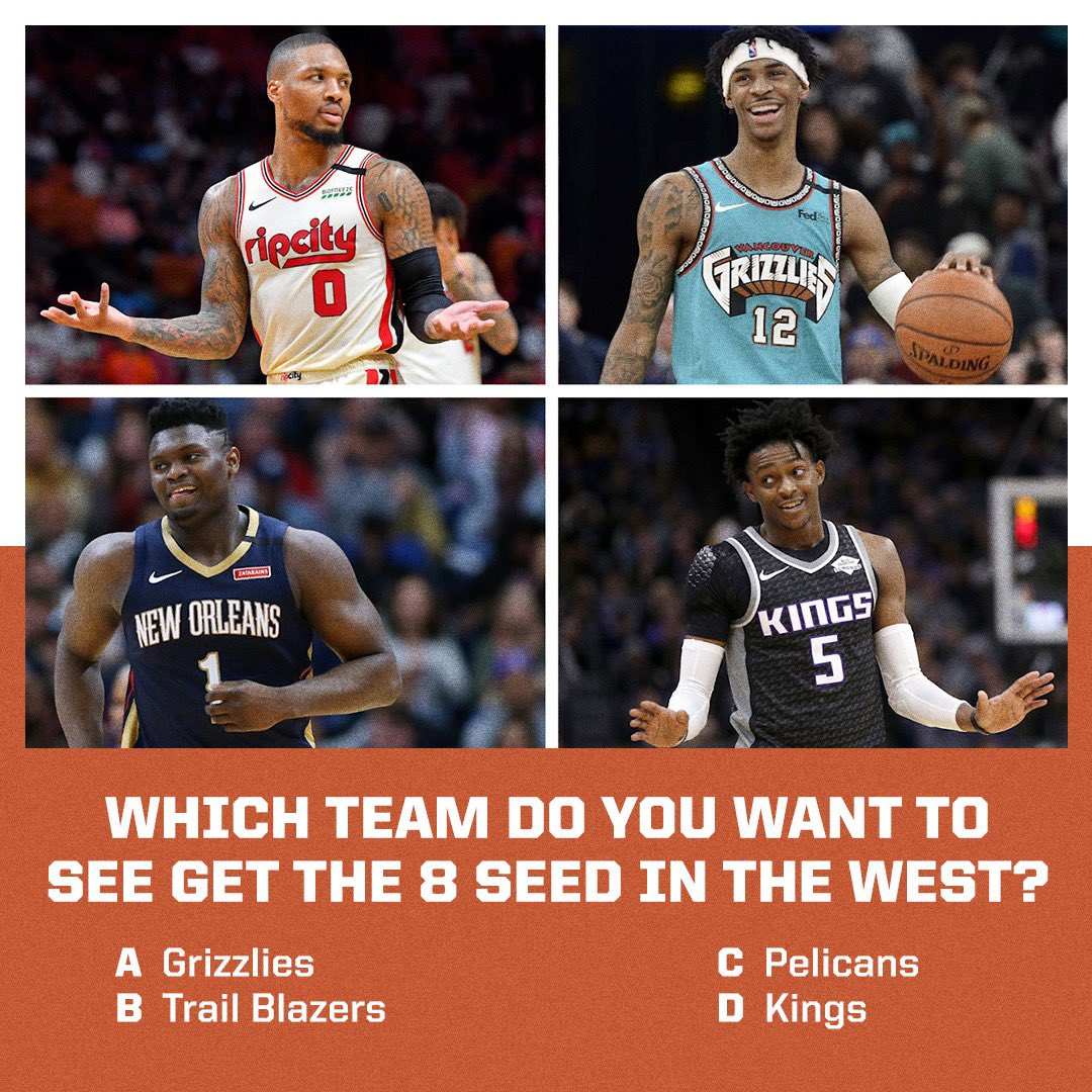 Who do you WANT to see get the 8th spot in the West? https://t.co/69l6nuVvpW