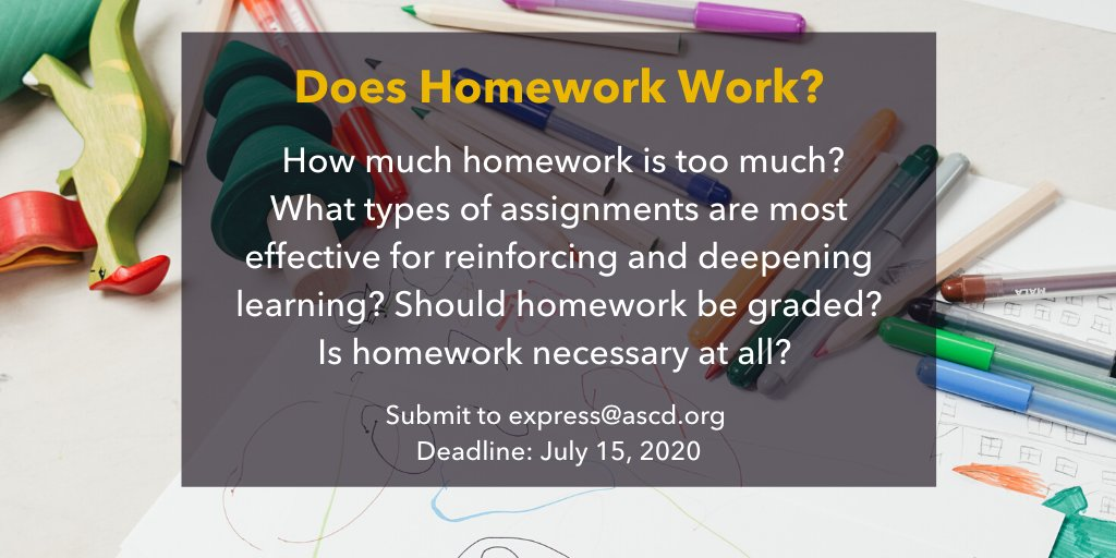 """In recent years, the debate over the merits of homework has continued to grow. Submit a short essay on """"Does Homework Work?"""" to @ASCD Express by July 15. Details here: https://t.co/Q3TZGabt3y https://t.co/poSxdHZIaa"""