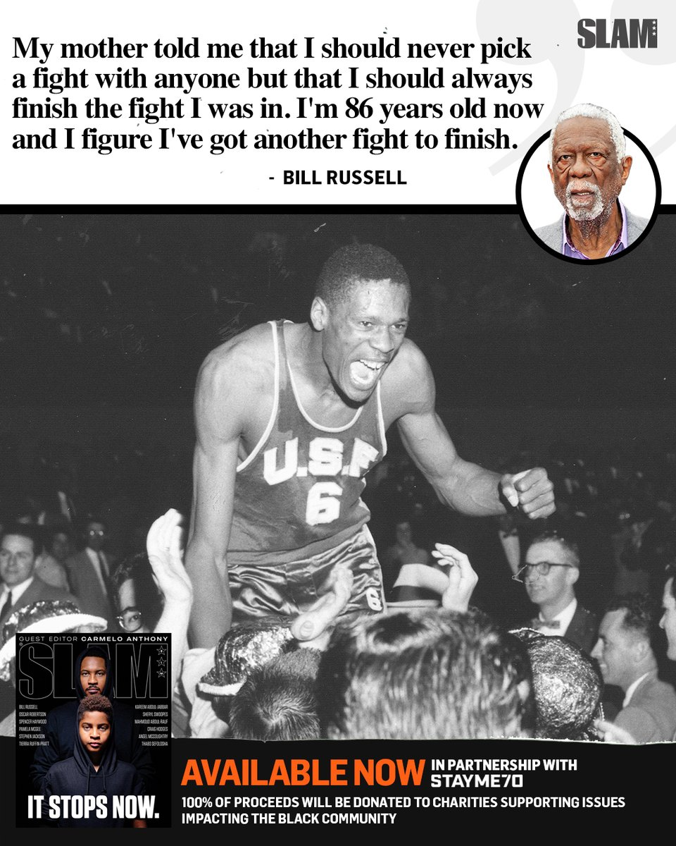 Join the fight. #ItStopsNow The heroic Bill Russell pens a first-person essay about his life as a Black man in America: slam.ly/russells-life