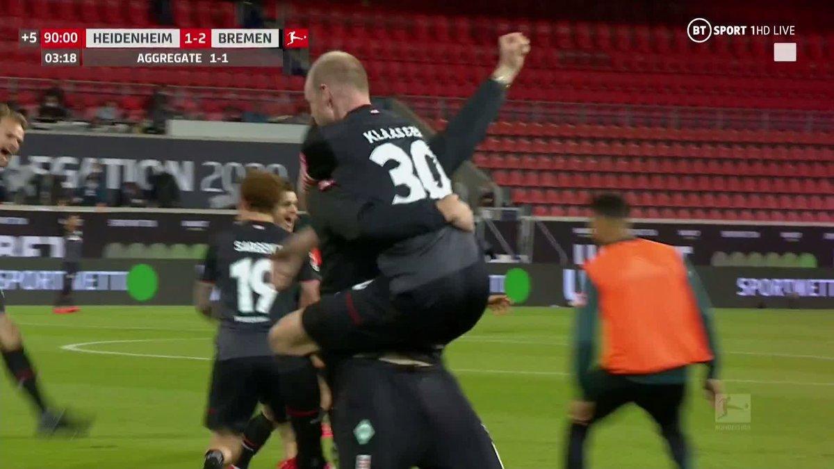 .@werderbremen_en are staying in the @Bundesliga_EN, thanks to this very satisfying 93rd minute goal.