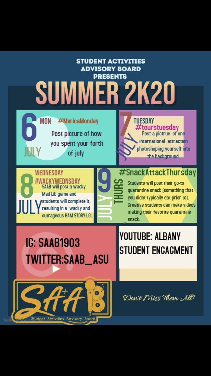 We took a break last week but we're back! Summer SAAB Spirit Weeks for July. Let's have some virtual fun. 🐏💙💛 https://t.co/IkSpwQ1qUy