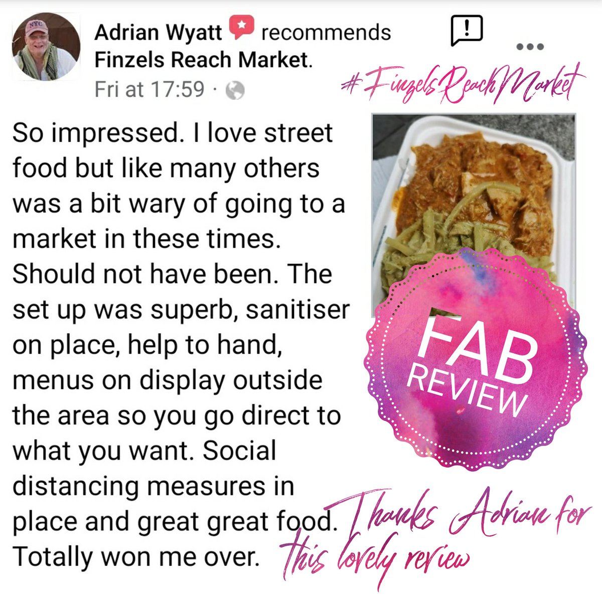 What a lovely review! Come see what all the fuss about with our weekly COVID secure street food market @FinzelsReach every Friday. #marketreview #mymarket #marketlife #streetfood #bristol #eventplanner #marketoperator #covidsecure #bristolfoodscene  #supportsmallbiz #foodiespic.twitter.com/ii9Y8RqL71