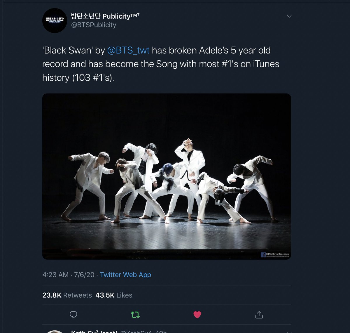 @billboard @charlieputh Anyways You forget writing about this.  Black Swan by @BTS_twt has broken Adele's 5 year old record and has become the Song with most #1's on iTunes history 103 #1's #BTS #BTSARMY https://t.co/s4njk7DHGZ