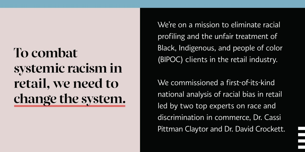 Many of you have shared your experiences of biased treatment in our stores. We hear you and we take those accounts seriously. In January, we commissioned a national analysis of racial bias in retail, and now we're sharing our initial findings and plan: https://t.co/eGlXKokbLs https://t.co/jOcxpga7El