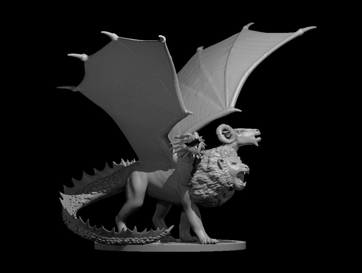 Per my #Patreon requests here is my Chimera now updated and ready for #3Dprinting!   Free stl link here: https://t.co/YA0nfU91jG   Next up is an updated Cloaker! I love finally revisiting my old models :D #dnd #3dmodeling #dungeonsanddragons #dnd5e #ttrpg #miniaturemonday #3dart https://t.co/fxLRv8zt4O