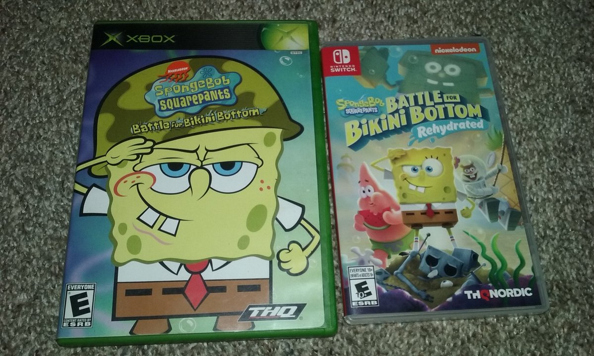 I finally got #SpongeBobRehydrated for the #NintendoSwitch. Here's a comparison of the original and the remake. #Gaming #Nickelodeon https://t.co/10hiNFz3lZ