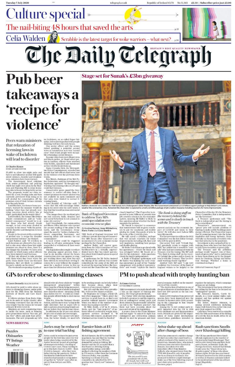 "Tomorrow's Telegraph front page: ""Pub beer takeaways a 'recipe for violence'' #TomorrowsPapersToday"