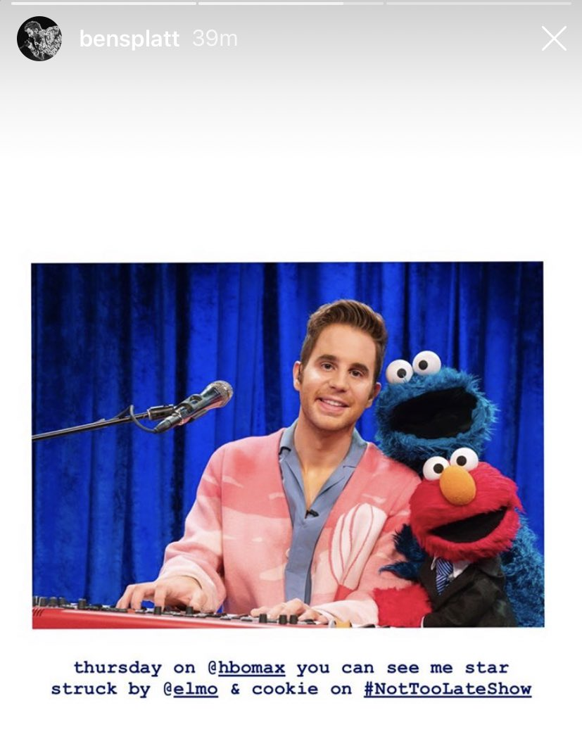 Catch @BenSPLATT with some very familiar friendly faces this Thursday on HBOMax! #NotTooLateShow @Elmo 💙✨ https://t.co/Mf5jDRCG5g