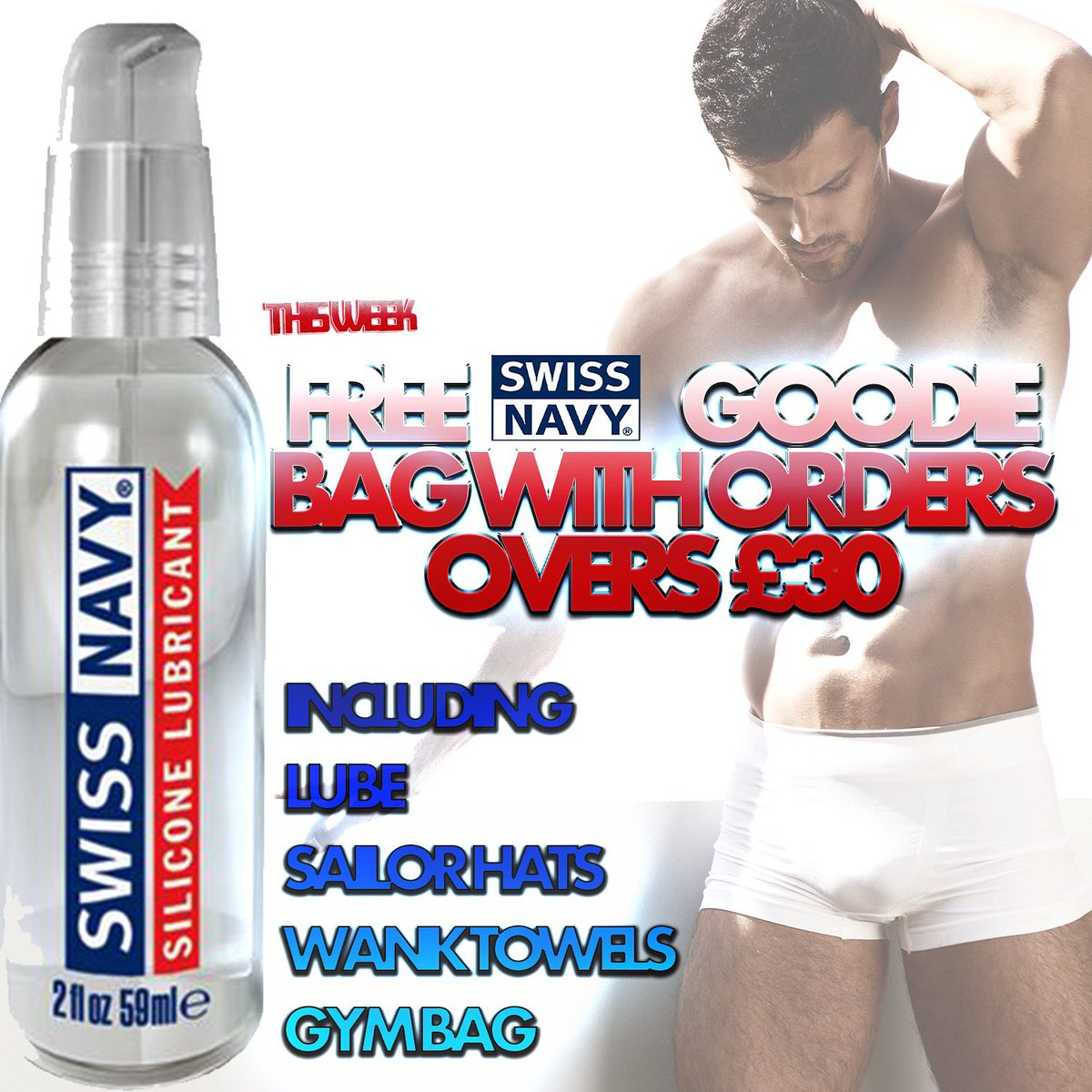 All this week, spend over £30 and get yourself a free goodie bag from @swissnavy - including lube samples, Swiss Navy sailor hat, wank towel and a gym bag for all your goodies to go in! shop now at jockparty.club/store