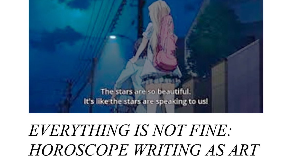 """http://www. alicesparklykat.com/articles/123/E verything_is_not_fine:_Horoscope_writing_as_art/  …   """"Horoscopes, like other forms of art and culture, can be used for fascism. Just like there is a such thing as a fascist song or a fascist play, there is a such thing as a fascist horoscope column."""" <br>http://pic.twitter.com/J26N0urUIH"""