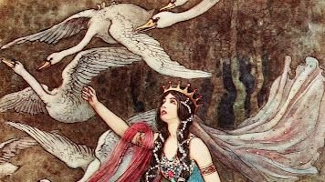 In Irish fairytale The Children of Lir, jealous Aoife transforms her step children into swans. The swans sing of her treachery and she is changed into a Demon of the air. At the end of 900 years, the swans regain human form for a moment, then crumble to dust #FairyTaleTuesday pic.twitter.com/Xh7EAQEISH