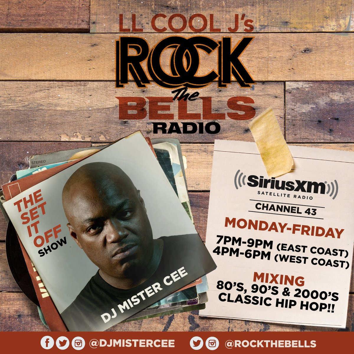 2DAY!!! THE SET IT OFF SHOW WIT @djmistercee AIRING MON-FRI 7PM-9PM(EAST COAST) 4PM-6PM (WEST COAST) ON LL COOL J @llcoolj ROCK THE BELLS RADIO @rockthebells ON SIRIUS XM CHANNEL 43!!! @siriusxm PLAYING CLASSIC/TIMELESS HIP HOP TUNES FROM THE 80's 90's & 2000's