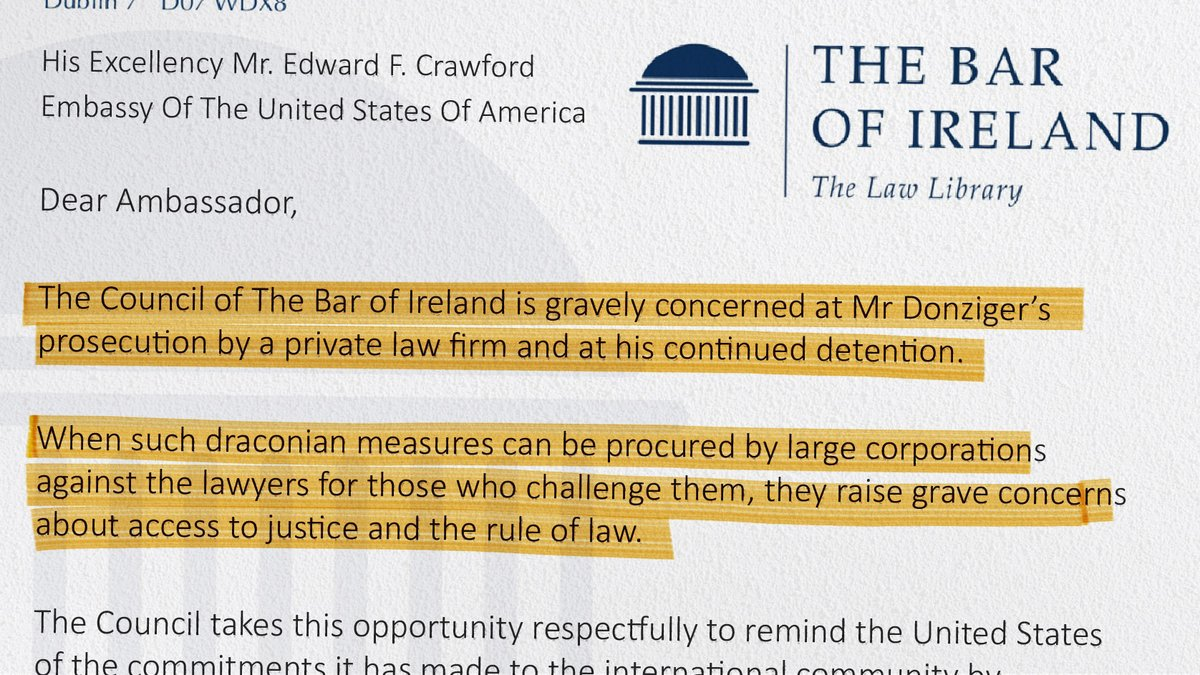 Bar of Ireland expresses grave concern at my continued prosecution and detention by @Chevron law firm Seward & Kissel. Today marks my 11th month of house arrest without trial after winning pollution judgment against Chevron. static1.squarespace.com/static/5ac2615…