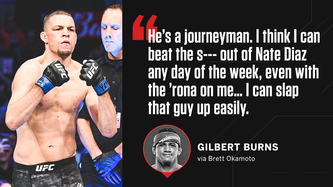 Gilbert Burns is NOT playing with Nate Diaz 😳 (via @bokamotoESPN) https://t.co/o0T3lw5C96
