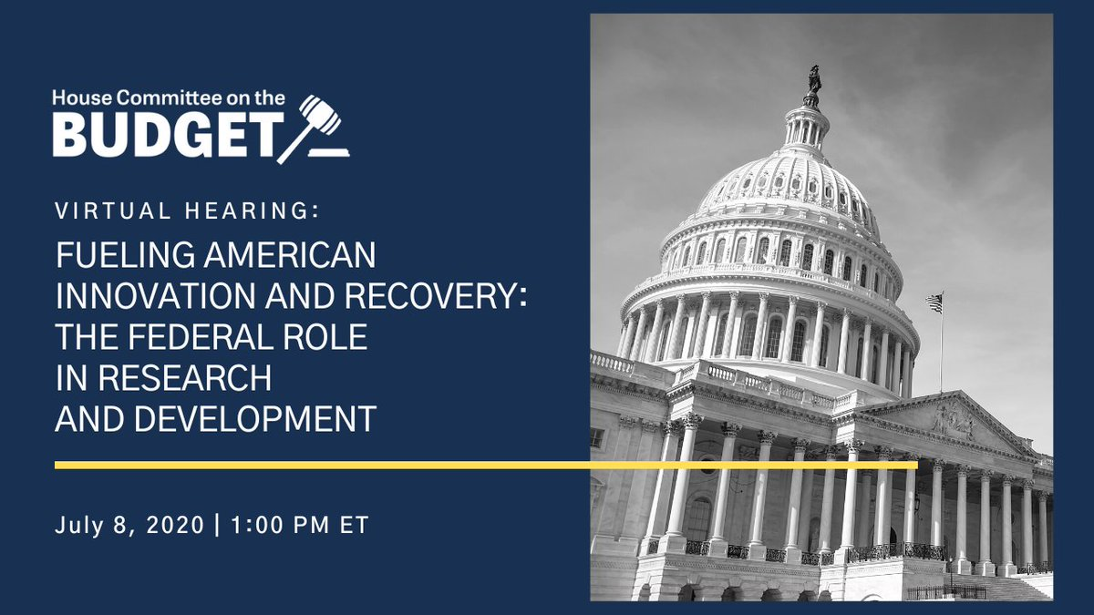 MARK YOUR CALENDAR: Wed. July 8 @ 1pm the Budget Committee is holding a virtual hearing on the importance of R&D investments & how innovation can help us address the challenges we face--from systematic inequality to the #coronaviruspandemic.  Learn more: https://t.co/9Vl4K8YMiT https://t.co/b1RjIsTwFr