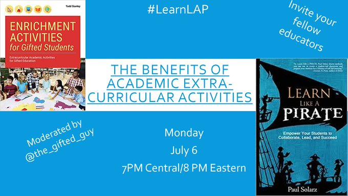 """TOPIC: """"Academic Extra-Curricular Activities""""  Please join @the_gifted_guy TONIGHT at 7pm Central for #LearnLAP!  #TeacherMyth #teachmindful #teachpos #txeduchat #UKedchat #waledchat #whatisschool #BuildHOPEedu #rethink_learning #flipgridfever #TeachBetter #CelebratED #MakeEdReal"""