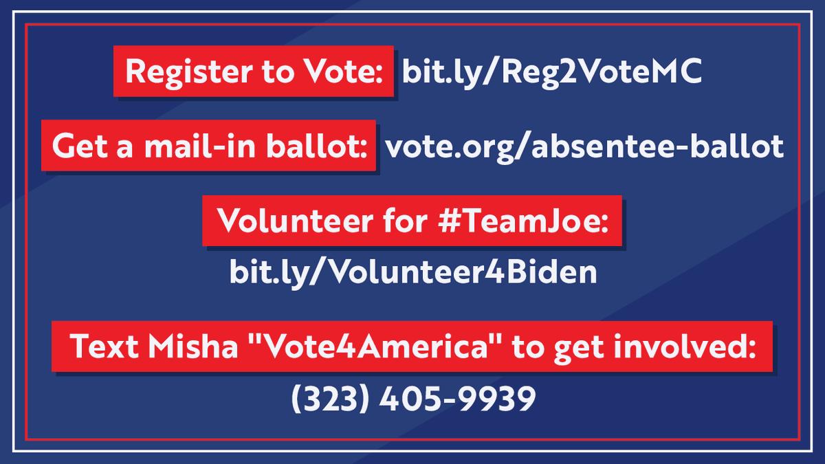 "🚨 Let's team up to shape the future of America! 🚨 Here's how: Register to Vote: bit.ly/Reg2VoteMC Get Your Ballot: vote.org/absentee-ballot  Volunteer for #TeamJoe: bit.ly/Volunteer4Biden Text me ""Vote4America"" to learn more: (323) 405-9939 #TeamJoeTalks@JoeBiden"