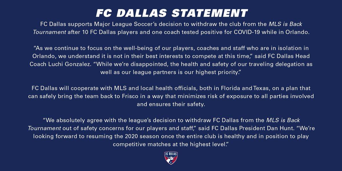 🚨 10 contagiados de #COVID19, la razón por la que el @FCDallas no va a participar en el torneo de la #MLSisBack en Florida. https://t.co/hbl8gTBQuX
