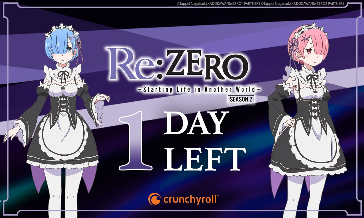 Watch Re:ZERO Season 2 on @Crunchyroll TOMORROW!  <br>http://pic.twitter.com/9UcDG7Tkcj