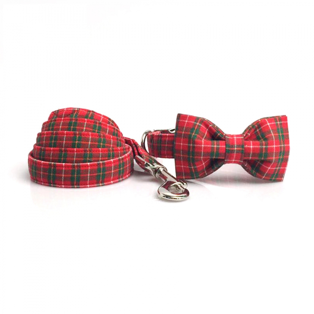 Red Plaid Dog Collar with Bowtie #deluxe #luxury #designpic.twitter.com/y4YFHMb22r