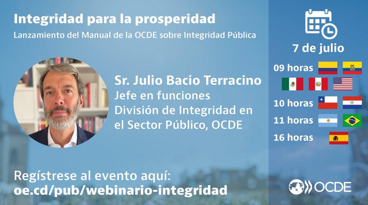 ¿Cómo hacemos de la integridad pública una realidad sostenible? Únase al webinario de #OECDintegrity con @JBacioTerracino, Jefe en funciones de la División de Integridad en el Sector Público de la #OCDE y otros invitados más. Visite: https://t.co/va3AEyIS53 https://t.co/EeHNAU6VvZ