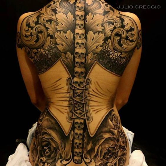 #Tattoo Awesome of the Day: #Steampunk ⚙️ #Victorian #Corset Back Piece By Julio Greggio via @Steampunk_T #SamaTattoo
