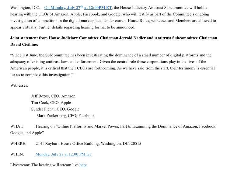House Judiciary confirms July 27 Big Tech CEO hearing