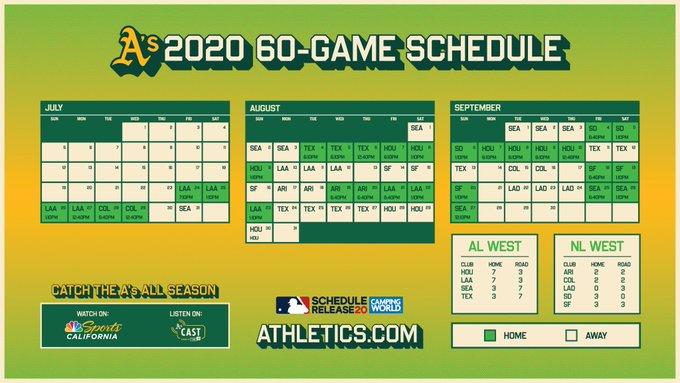 Athletics 2020 Schedule