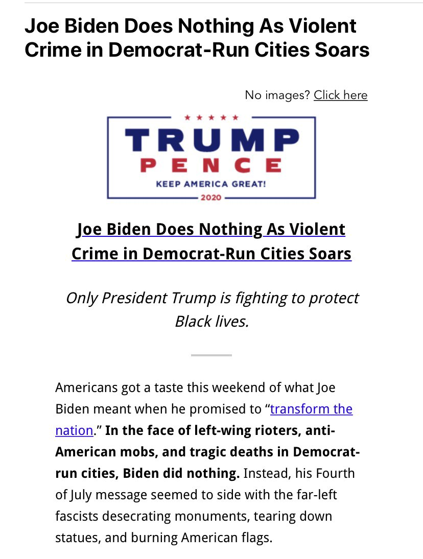 YES! What DID this unelected private citizen, Joe Biden, DO about crime in American cities this weekend? the Trump campaign asks. Meanwhile, the actual President tweeted that a black NASCAR driver should apologize to white drivers. That's what HE did about it. <br>http://pic.twitter.com/ZKaGv3HSEw