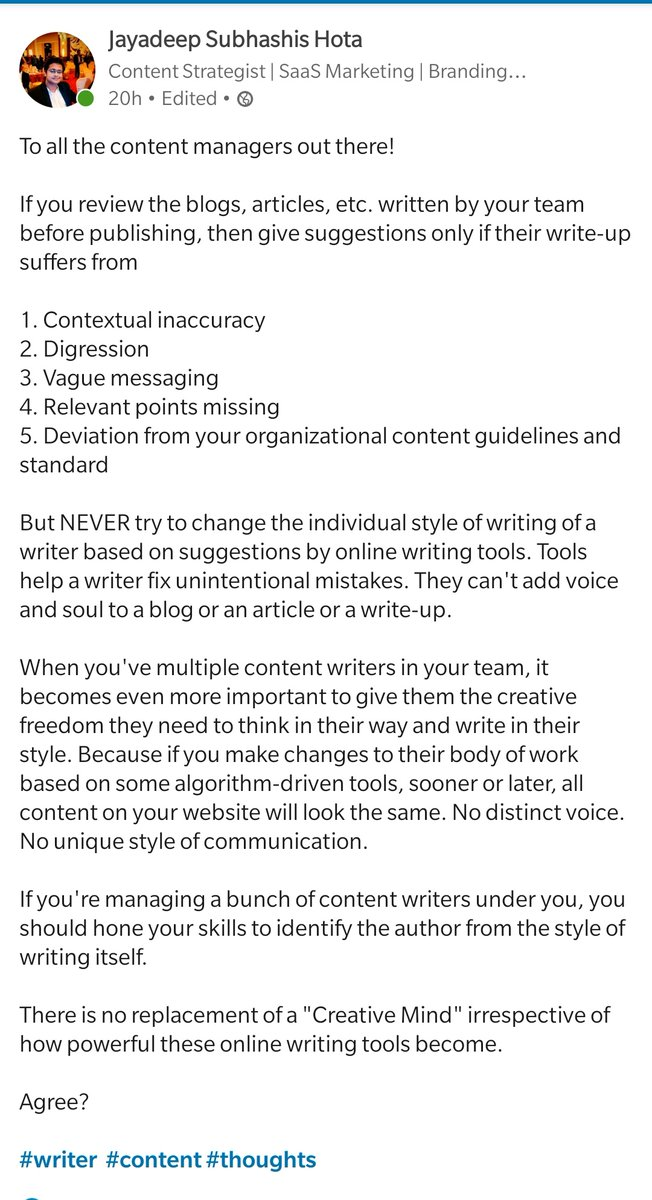 Do you review the writing of your team members? #thoughts #contentwriter #contentmarketing #writer #writerslife #writer #amwriting #tuesdayvibes<br>http://pic.twitter.com/O2qKHhdlFp