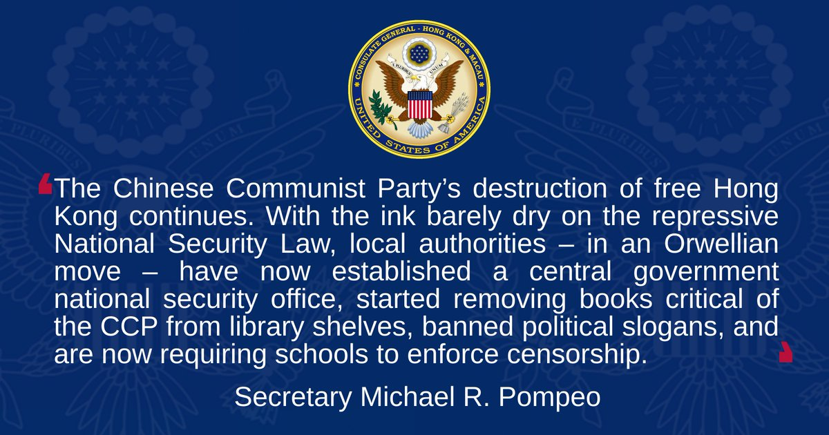 Secretary Michael R. Pompeo Press Statement - On the CCP's Orwellian Censorship on Hong Kong. Details: https://t.co/2zVyYFvJZe https://t.co/MvS0P7x8K4
