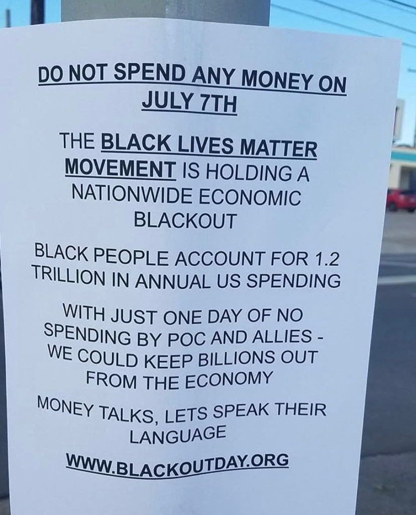 REMINDER THAT TOMORROW, JULY 7TH, IS ECONOMIC BLACK OUT DAY