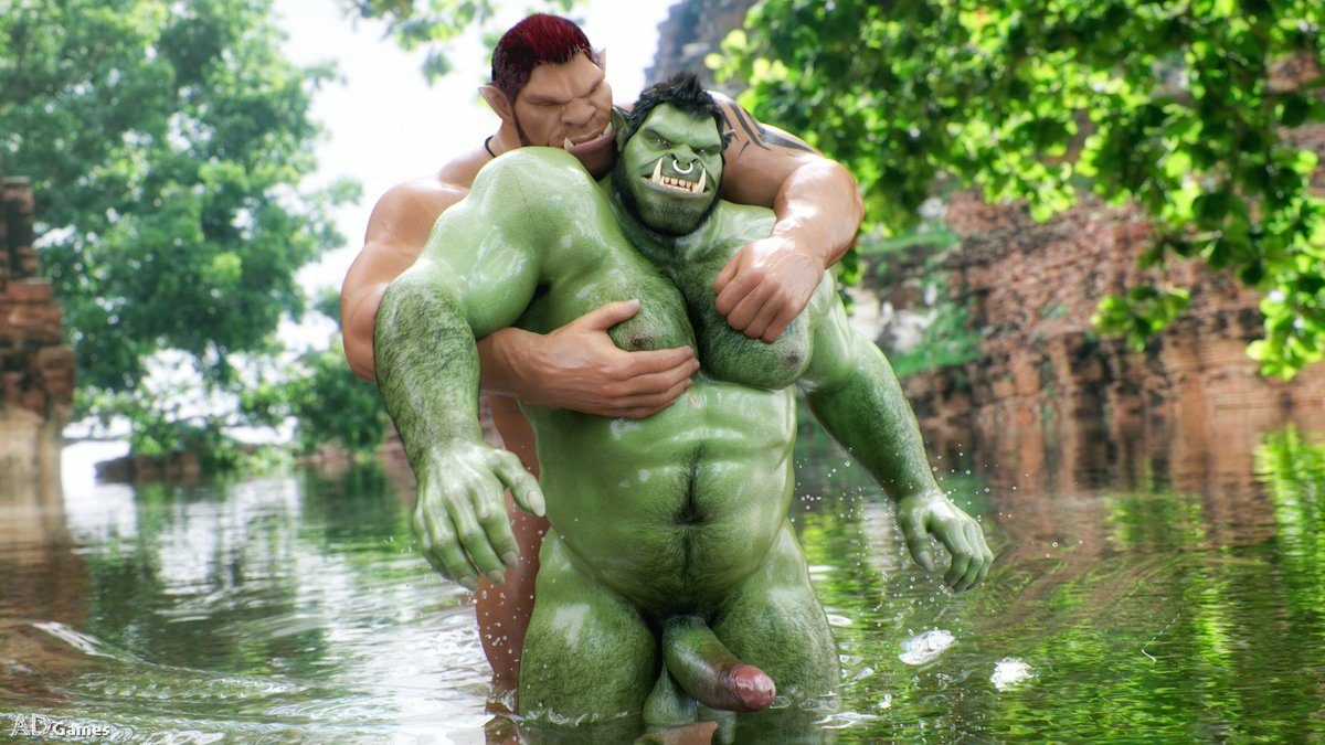 Cool off in the bed of a river in the company of his best friend under the rays of the sun which bathes you in its warm light. ☀️😎 If you are on vacation, take advantage! #nsfw #3d #orc #vacations