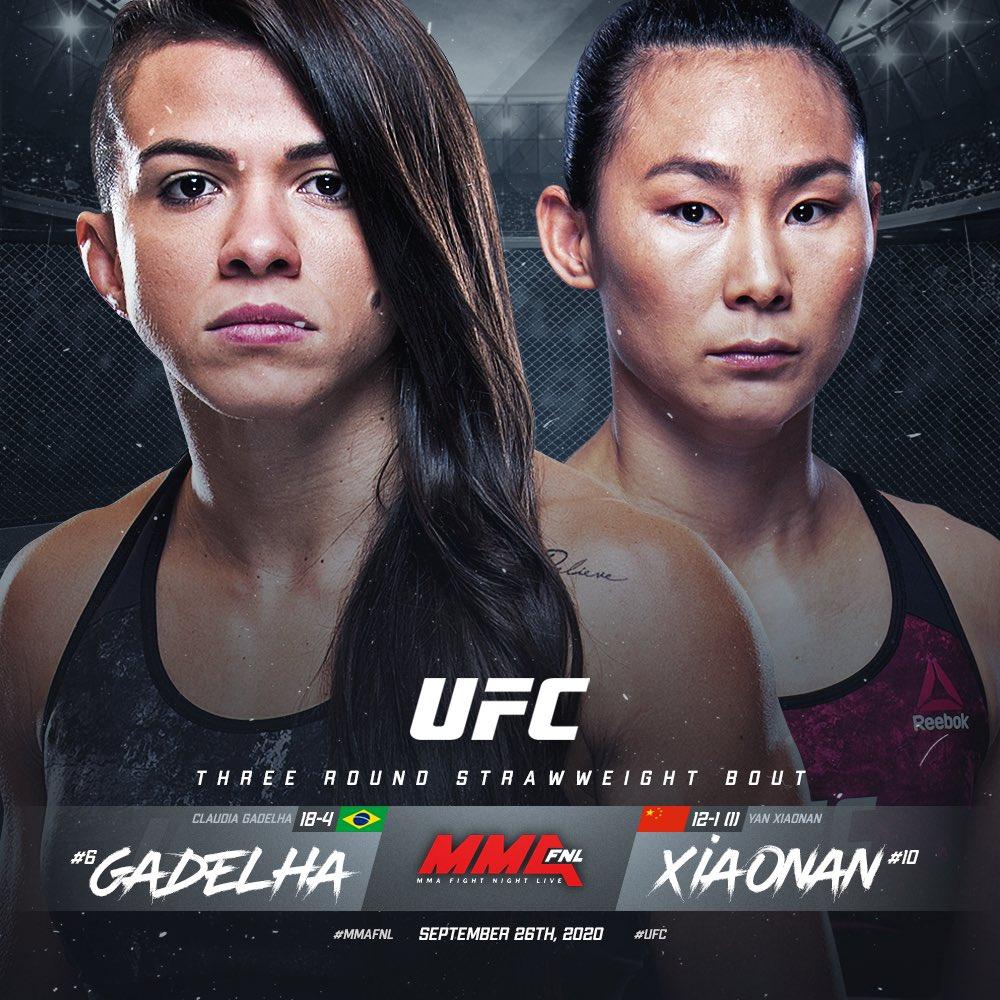 📑 #UFCTBD 🗓 09.26.20  Strawweight: Claudia Gadelha [ @ClaudiaGadelha_ ] x Yan Xiaonan  Story by @MMAFighting x @guicruzzz   🔗 https://t.co/2FbfaJ9Jjp  Originally reported by @canalCombate https://t.co/OU439obId8