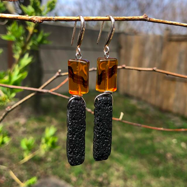 Glass beads and lava stone earrings.  #jewelrydesigner #jewelrydesign #jewelryaddict #jewelrylover #jewelrymaking #jewelryoftheday #jewelrylovers #jewelrymaker #jewelrybox #jewelrylove #jewelryart #jewelrytrends #jewelryporn #jewelryartist #earrings #earringslove #earringsporn