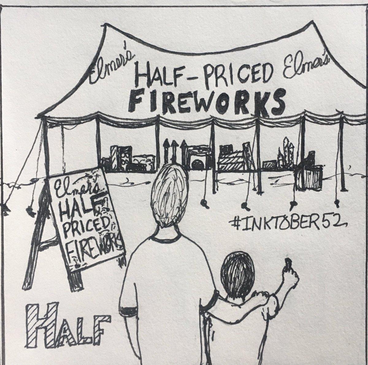 #Inktober52 Half. Half-priced fireworks are the bomb! #Inktober pic.twitter.com/ljOZ0Ye2Ma