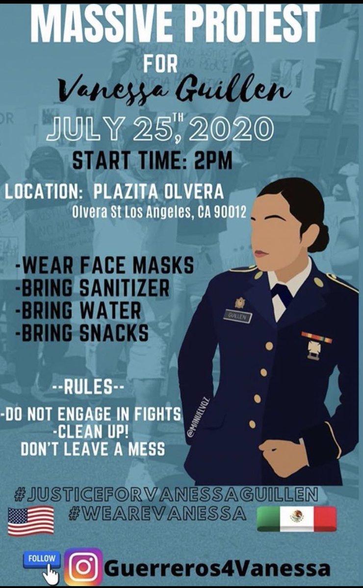 WE WANT ANSWERS!!!!!!   Plazita Olvera 📍  July 25th 🗓   #JUSTICEFORVANNESSAGUILLEN #LAProtest #LA #VanessaGuillen https://t.co/68KKoaADXJ